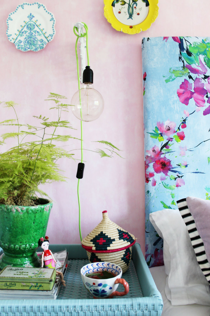 Inside our colourful guest bedroom